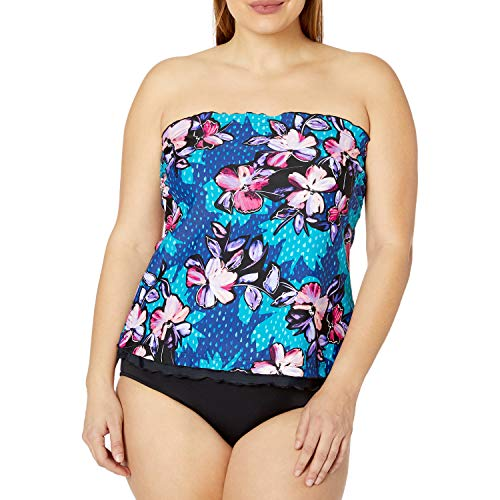 Maxine Of Hollywood Women's Plus Size Ruffle Bandeau Tankini Swimsuit Top, Emerald//April Flowers, 16W