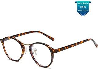 Blue Light Blocking Glasses Men Women Vintage Round Frame Computer Eyeglasses
