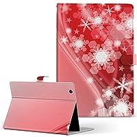 igcase TAB3 レノボ lenovotab3 softbank ソフトバンク タブレット 手帳型 タブレットケース タブレットカバー カバー レザー ケース 手帳タイプ フリップ ダイアリー 二つ折り 直接貼り付けタイプ 005630 ラグジュアリー 雪 結晶 赤 レッド