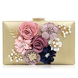 Floral Light Gold Clutch With Pearls and Rhinestones Purse