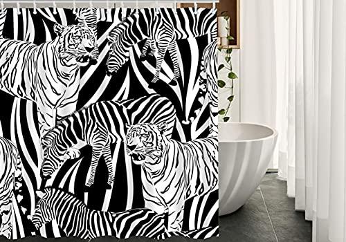 lovedomi Zebra Duschvorhang Tiger Muster Wildtier Streifen Tier Natur Weiß Schwarz Lustig Dekorativer Duschvorhang Wasserdicht Polyester Stoff Duschvorhang 182,9 x 182,9 cm Badezimmer Zubehör-Set