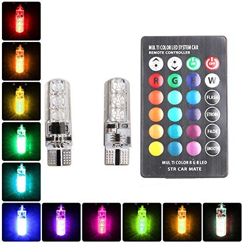 Feeilty autolampen, 2 stuks, T10, zijlicht, wig 5050SMD, RGB, 6 LED, auto met afstandsbediening