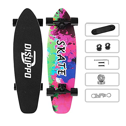 DISUPPO Cruiser Skateboard, 79 x 21 cm, Patinetas para Adultos, Niñas, Niños, Principiantes, Tabla de Monopatín de 7 Capas, Rodamientos ABEC-11, 92APU 60×45mm Ruedas (Mundo de la Acuarela)