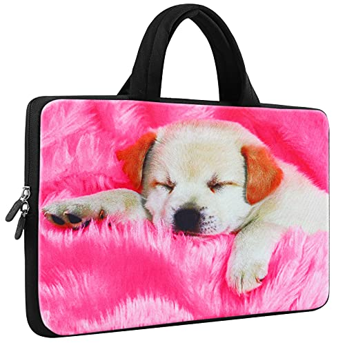ICOLOR Sleepy Dog 10 10.2 Inch Laptop Carrying Bag Cover Neoprene Travel Briefcase Portable Chromebook Ultrabook Sleeve Case with Handle Fits 9.7-10.1 Inch Dell Google Acer HP Lenovo Asus (IHB10-06)