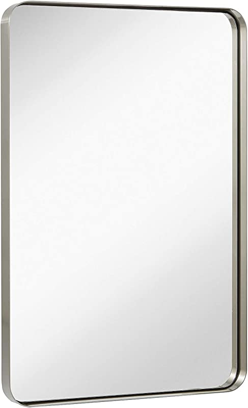Hamilton Hills Contemporary Brushed Metal Wall Mirror Glass Panel Silver Framed Rounded Corner Deep Set Design Mirrored Rectangle Hangs Horizontal Or Vertical 24 X 36