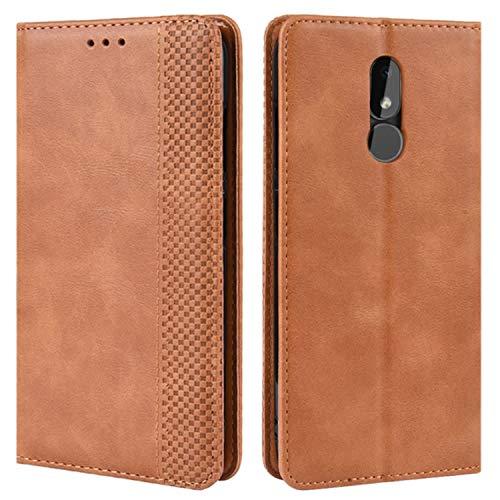 HualuBro Handyhülle für Nokia 3.2 Hülle, Retro Leder Brieftasche Tasche Schutzhülle Handytasche LederHülle Flip Hülle Cover für Nokia 3.2 2019 - Braun