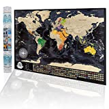 Póster de Mapa del Mundo Para Rascar - Mapa de Viajes con Caja de Regalo, Diseño de Superficie Coloreada Original, Mapa de Viaje con Banderas de Países, Mapa Detallado Para rascar 84x57cm, Made in EU