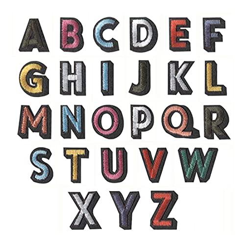 Tiardey 26 Parches con Letras del Alfabeto, Apliques Bordados para Planchar y Coser para Sombreros, Chaqueta, Camisa, Jeans y Manualidades