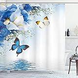 ABAKUHAUS Duschvorhang, Schmetterlinge der Natur die über Einen Fluss Schwimmen Campanula Cespitosa Glocken Blumen Blau, Wasser & Blickdicht aus Stoff mit 12 Ringen Schimmel Resistent, 175 X 200 cm