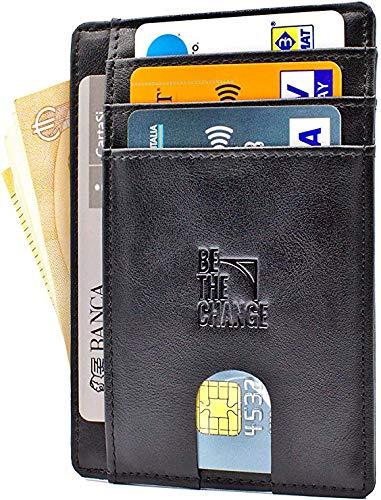 Portafoglio Uomo Piccolo Sottile - Mini Porta Carte Credito Uomo Pelle con Protezione RFID e Tasca Banconote - PortaTessere Slim Minimalista anche per Donna - Nero (8 Carte, 11x8 cm, 29 g)