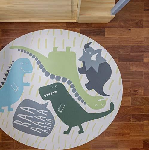 HB.YE Alfombra Redonda Infantil de Juegos con Diseño de Dinosaurio, Manta de Suelo para Bebe con Fondo Antideslizante 120x120cm