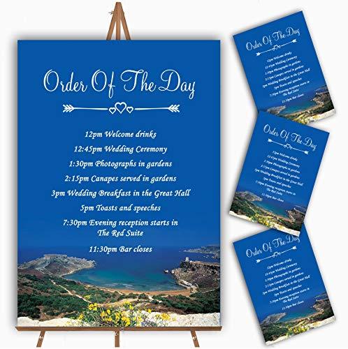 Malta in het buitenland Gepersonaliseerde Bruiloft Orde van De Dag Kaarten & Tekenen 1 x A3 Prints