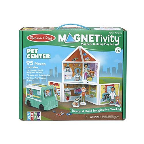 Melissa & Doug Magnetivity Building Play Set – Pet Center with Rescue Vehicle