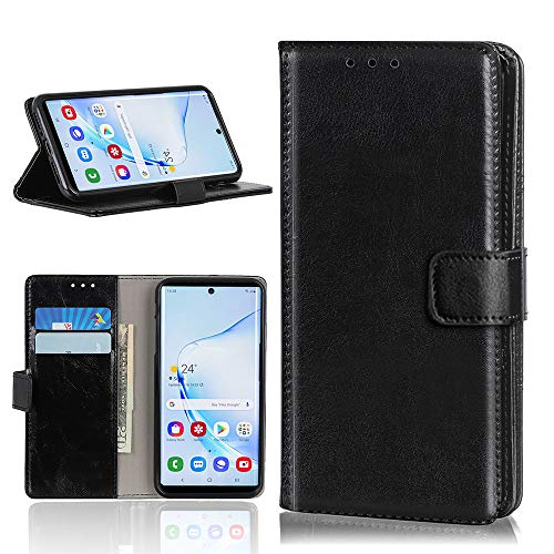 Janmitta for Samsung Galaxy S20 Ultra Case, Samsung Galaxy S20 Ultra Leather Case with Kickstand Function and ID Credit Card Slot, Wallet Folding Flip/Magnetic Closure Protective Case (Black)