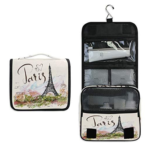 Paris Eiffel Tower Travel Toiletry Bag France Cosmetic Bag Flower Portable Makeup Pouch FloralHanging Organizer Bag for Women Girls Bathroom Toilet Use