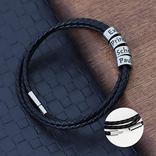 Dreamdge Personalised Mens Bracelet Leather Stainless Steel Bracelet Customized (Add Beads)
