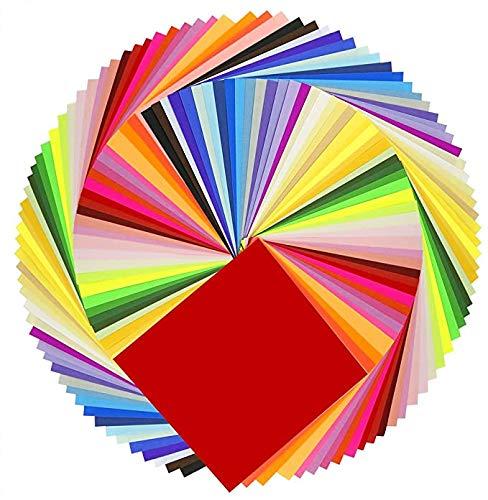 Jackcell Origami Papier, Doppelseitig Farben Faltpapier 200 Blatt 15 x 15 cm für Origami DIY Kunst und Bastelprojekte Weihnachten mit 100 pcs Wackelaugen