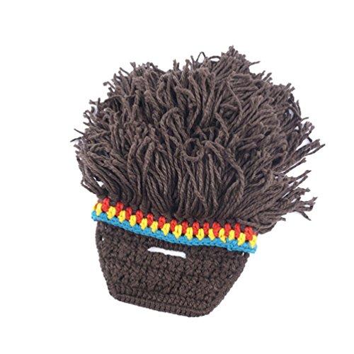 YiLianDa Hombres Knit Cap Sombreros con Barba Peluca Hecha A...