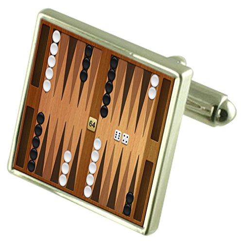 Select Gifts Brettspiel Backgammon Manschettenknöpfe mit Tasche