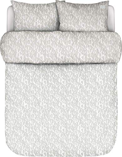 Marc O?Polo Vau Oatmeal - Juego de cama (200 x 200 + 2/80 x 80 cm, 100% algodón percal, funda de almohada y funda de almohada)