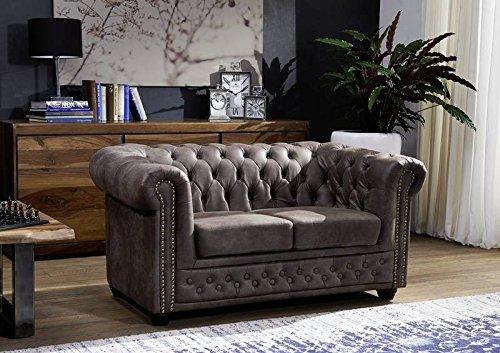 MASSIVMOEBEL24.DE Sofa Chesterfield, 2 Sitzer Couch Leder Optik, Dunkelbraun im englischen Kolonialstil 148x86x72, Chesterfield Serie