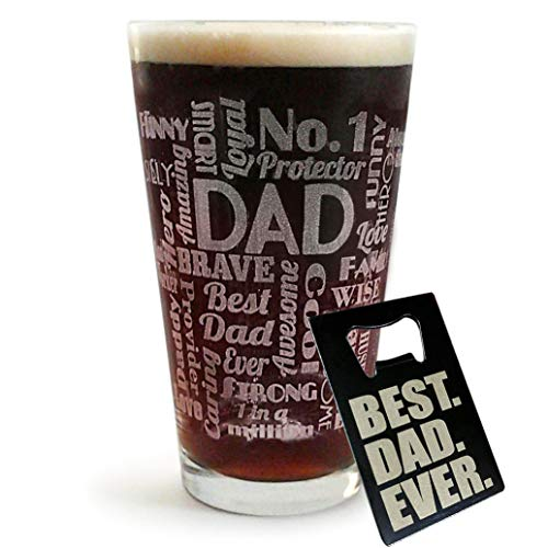 pound for pound boxer evers DAD Pub Glass with BEST DAD EVER Wallet Bottle Opener Card - Funny Father's Day, Birthday or Christmas Idea Best Dad Ever (16-Oz-Glass+Beer-Opener)