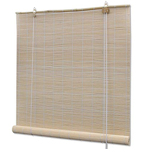 GOTOTOP Persiana Enrollable de bambú, Estores de Ventana para Interiores 100 x 160 cm, Beige