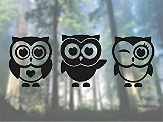 Owls 3 Cute - Vinyl Decal - Car Phone Helmet - SELECT SIZE