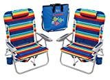 Variety Rio 4 Position Big Boy Backpack Striped Beach Chairs with Deluxe Insulated Tote Bag Bundle