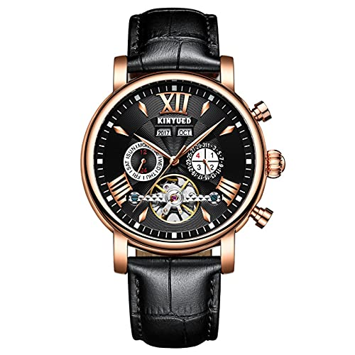 JTTM Reloj Analógico Mecánico De Los Hombres Calendario De Moda Casual Dial Esqueleto Reloj De Cuero Automático Serie De Hombres,Black Rose