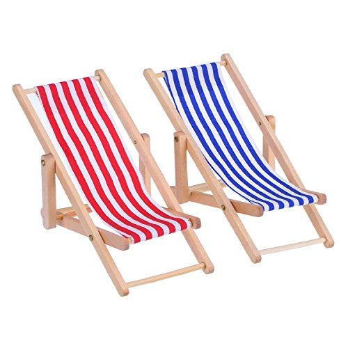 Bememo 2 Piezas 1:12 Silla de Playa de Madera Plegable de Miniatura Tumbona Mini Muebles Accesorios con Raya Roja/ Azul para Interior Exterior