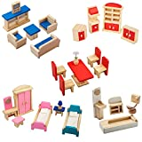 Giragaer 5 Set Colorful Wooden Doll House Furniture, Wood Miniature Bathroom/ Living Room/ Dining Room/ Bedroom/ Kitchen House Furniture Dollhouse Doll Decoration Accessories Pretend Play Kids Toy