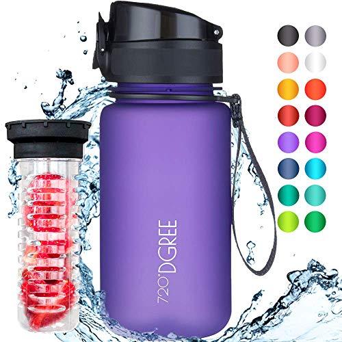 """720°DGREE Trinkflasche """"uberBottle"""" – 350 ml, 0,35 l, Violett, Lila - Neuartige Tritan Wasser-Flasche - Water Bottle BPA Frei - Ideale Sportflasche für Kinder, Fitness, Fahrrad, Sport, Fussball"""