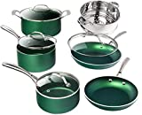 Granitestone Diamond Granite Stone Classic Emerald Pots and Pans Set with Ultra Nonstick Durable Mineral & Diamond Tripple Coated Surface, Stainless Steel Stay Cool Handles, 10 Piece Cookware, Green
