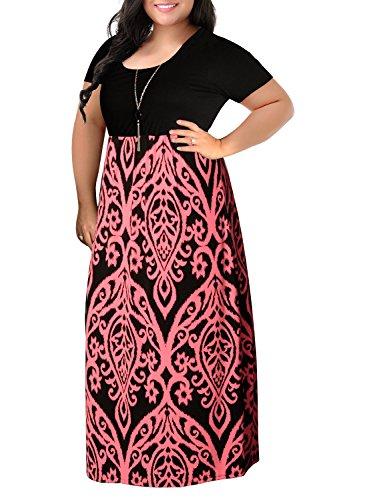 Nemidor Women's Chevron Print Summer Short Sleeve Plus Size Casual Maxi Dress(22W,Pink)