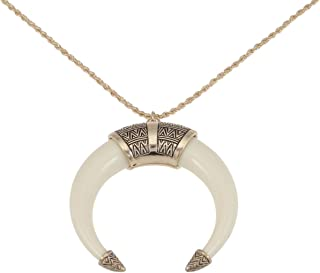 Womens Boho Tribal Native American Inspired Crescent Moon Bull Horn Bone Pendant Necklace