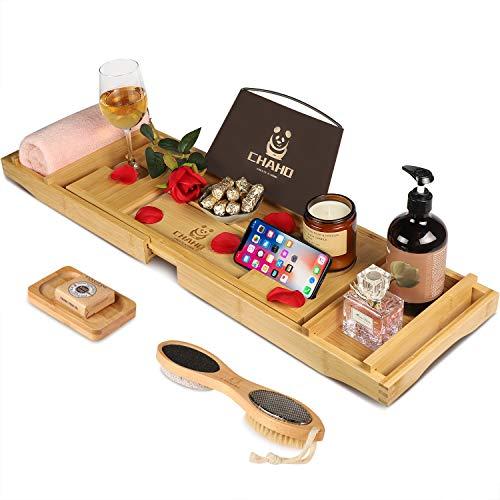 Chaho Bandeja de bambú para bañera con bandeja de vino y baño con lados extraíbles, puente de bambú natural, mesa de baño para bandeja, jabonera y cepillo de baño