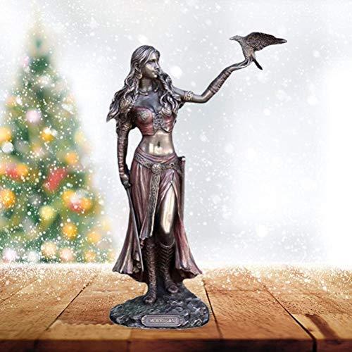 HJXX Goddess Statues Morrigan- The Celtic Goddess of Battle W/Crow & Sword Bronze Statue,Resin craftsFor Home Furnishing Decoration