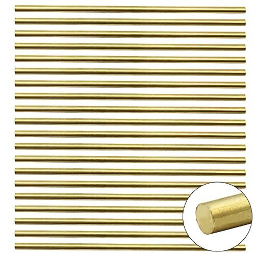 PLCatis Messingstäbe 20 Stücke Massive Messingstange Solide Messing Rundstange 3mm x 100mm Messing Rundstabstange für DIY-Projekte Modellbau Architektur Engineering