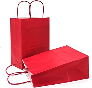 AZOWA Gift Bags Red Kraft Paper Bags with Handles Party Supplies