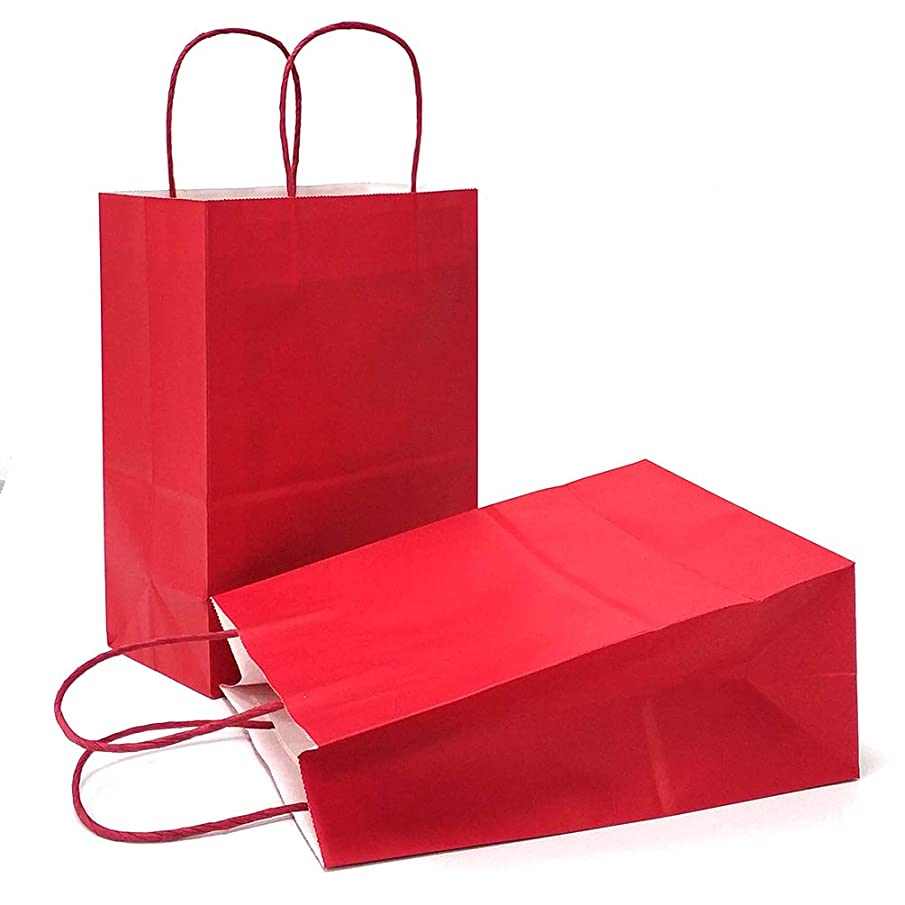 AZOWA Gift Bags Red Kraft Paper Bags With Handles Party Supplies Set OF 25