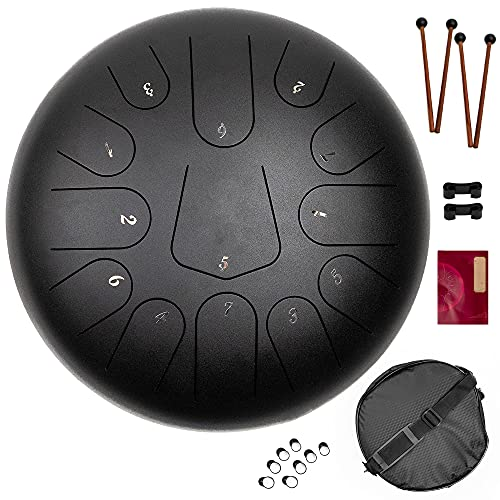 Steel Tongue Drum 13 Note 12 Inch, Handpan Drum, Percussion Instruments, Dandpan Drum Kit, w/Padded Travel Bag, Mallets, Music Book, Finger Sleeves, Mallet Racks for Meditation Yoga - Black