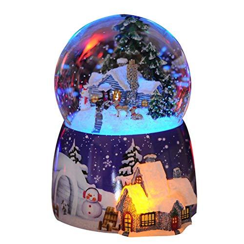 Weihnachtskristall-Schneeball-Spieluhr, Kristallkugel-Licht drehen und Spieluhr 4-in-1-Multifunktions-Schneekugel Ideal für Weihnachtsgeschenke, Geburtstagsgeschenke, Erntedankgeschenke