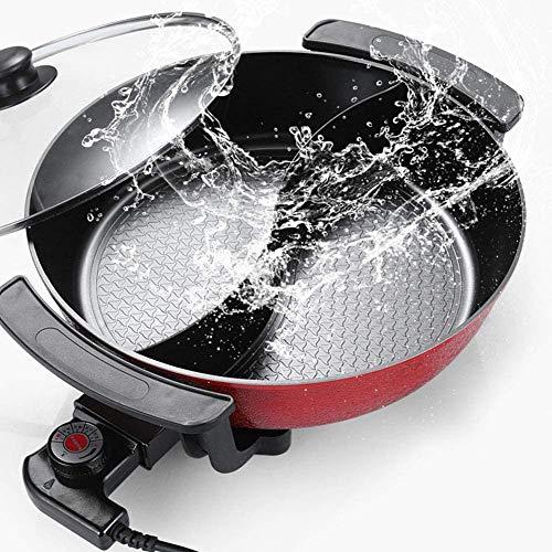 Fondue caliente eléctrica, 6L gran capacidad interna Hot Pot fricción, barbacoa eléctrica, cocina eléctrica multifuncional antiadherente de la criada de la casa, la cocina, el partido