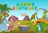 Fondo de fotografía Dinosaurio Jurásico Hojas Verdes Erupción volcánica Cumpleaños Baby Shower Photo Studio Telón de Fondo A15 10x7ft / 3x2.2m