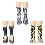 ATROPOS 3 Pair Animal Paw Socks-Unisex 3D Printed Socks Novelty Animal Paws Crew Socks for Men Women...