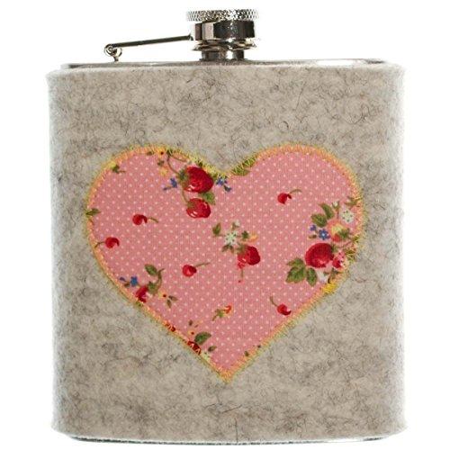 FLACHMANN aus Edelstahl | 7 OZ Hip Flask mit abnehmbarer Hülle aus Filz (Hellgrau) | mit Erdbeer Herz in Rosa aus Trachtenstoff | Geschenk für Damen | Taschenflasche für Schnaps und Spirituosen