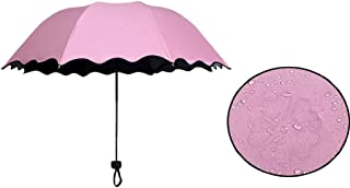 Gesteh Folding Umbrella Magical Bloom Flower in Rain Water Fashion Exquisite Windproof Sunshade Outdoor Sports Camping Walk Travel Parasol UV Protection (Pink)