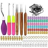 136 PCS Dreadlocks Crochet Hook Set, Dreadlocks Crochet 1 Hook 2 Hooks 3 Hooks, Hair Locking Tool, Bent Latch Hook Crochet Needle Set for Braid Craft, Latch Hook and Crochet Needle with Soft Grip
