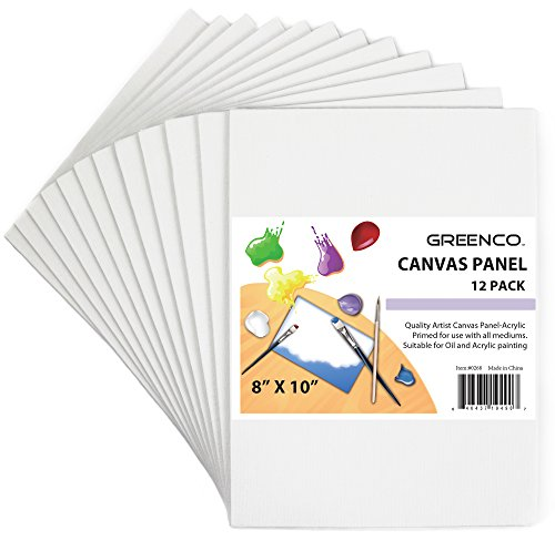 Greenco Professional Quality Canvas Panel 8 x 10 inch -Pack of 12